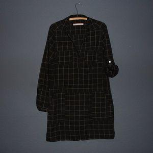 Anthro HUTCH Black Plaid Windowpane Shirt Dress S
